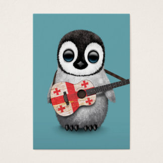 Baby Penguin Playing Georgian Flag Guitar Blue Business Card