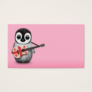 Baby Penguin Playing Georgian Flag Guitar Pink Business Card