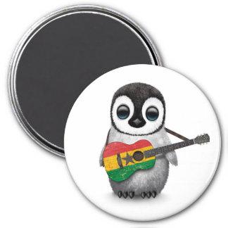 Baby Penguin Playing Ghana Flag Guitar Magnet
