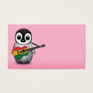 Baby Penguin Playing Ghana Flag Guitar Pink Business Card