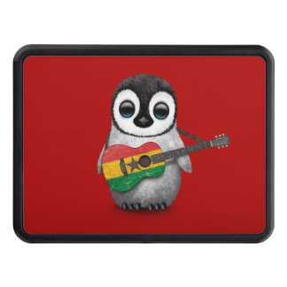 Baby Penguin Playing Ghana Flag Guitar Red Hitch Cover