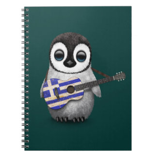 Baby Penguin Playing Greek Flag Guitar Teal Notebook