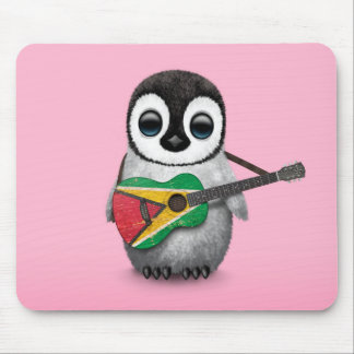 Baby Penguin Playing Guyana Flag Guitar Pink Mouse Pad