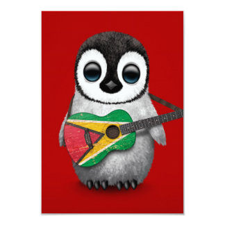 Baby Penguin Playing Guyana Flag Guitar Red Card