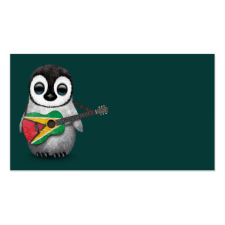 Baby Penguin Playing Guyana Flag Guitar Teal Business Card
