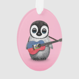Baby Penguin Playing Haitian Flag Guitar Pink