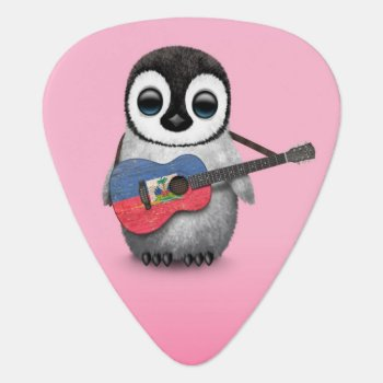Baby Penguin Playing Haitian Flag Guitar Pink Guitar Pick by crazycreatures at Zazzle