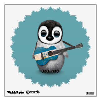Baby Penguin Playing Honduras Flag Guitar Blue Wall Decal