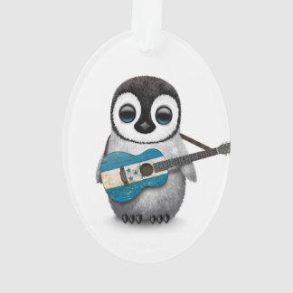 Baby Penguin Playing Honduras Flag Guitar Ornament