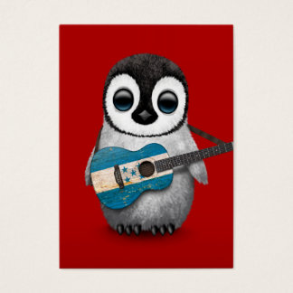 Baby Penguin Playing Honduras Flag Guitar Red Business Card