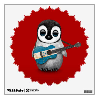 Baby Penguin Playing Honduras Flag Guitar Red Wall Decal