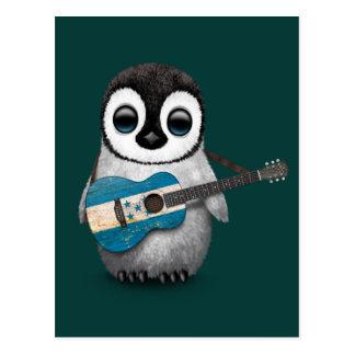 Baby Penguin Playing Honduras Flag Guitar Teal Postcard