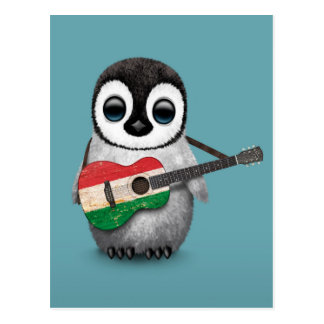 Baby Penguin Playing Hungarian Flag Guitar Blue Postcard