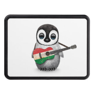 Baby Penguin Playing Hungarian Flag Guitar Hitch Cover