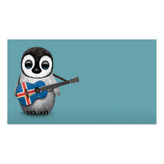 Baby Penguin Playing Icelandic Flag Guitar Blue Business Card