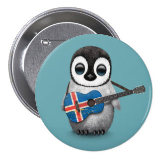 Baby Penguin Playing Icelandic Flag Guitar Blue 3 Inch Round Button