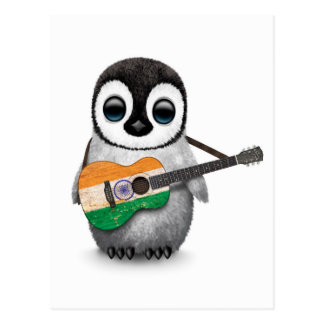 Baby Penguin Playing Indian Flag Guitar Postcards