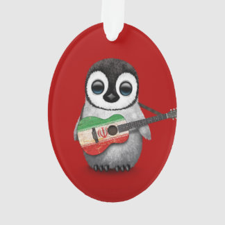 Baby Penguin Playing Iranian Flag Guitar Red Ornament