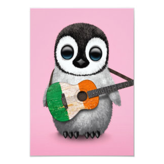 Baby Penguin Playing Irish Flag Guitar Pink 3.5x5 Paper Invitation Card