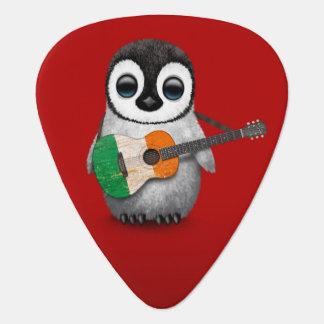Baby Penguin Playing Irish Flag Guitar Red Guitar Pick