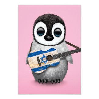 "Baby Penguin Playing Israeli Flag Guitar Pink 3.5"" X 5"" Invitation Card"