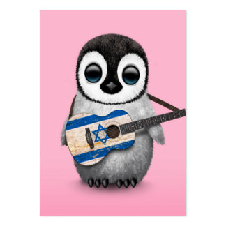 Baby Penguin Playing Israeli Flag Guitar Pink Large Business Card