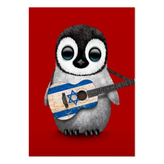 Baby Penguin Playing Israeli Flag Guitar Red Large Business Card