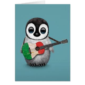 Baby Penguin Playing Italian Flag Guitar Blue Card