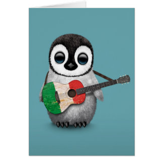 Baby Penguin Playing Italian Flag Guitar Blue Greeting Card