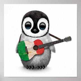 Baby Penguin Playing Italian Flag Guitar Poster