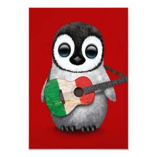 Baby Penguin Playing Italian Flag Guitar Red Card
