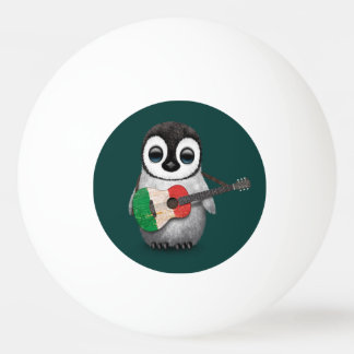 Baby Penguin Playing Italian Flag Guitar Teal Ping Pong Ball