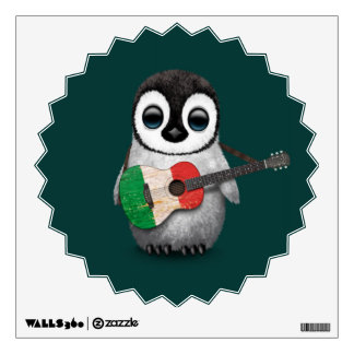 Baby Penguin Playing Italian Flag Guitar Teal Room Graphic