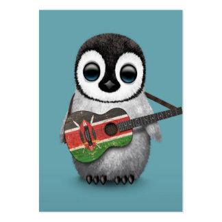 Baby Penguin Playing Kenyan Flag Guitar Blue Large Business Card