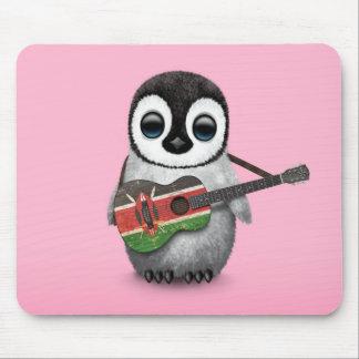 Baby Penguin Playing Kenyan Flag Guitar Pink Mouse Pad