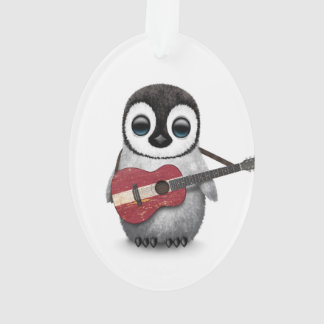 Baby Penguin Playing Latvian Flag Guitar Ornament