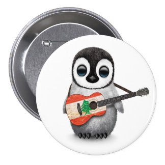Baby Penguin Playing Lebanese Flag Guitar 3 Inch Round Button