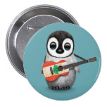Baby Penguin Playing Lebanese Flag Guitar Blue 3 Inch Round Button