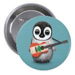 Baby Penguin Playing Lebanese Flag Guitar Blue Pinback Buttons