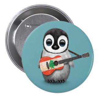 Baby Penguin Playing Lebanese Flag Guitar Blue Pinback Button