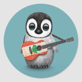 Baby Penguin Playing Lebanese Flag Guitar Blue Classic Round Sticker