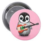Baby Penguin Playing Lebanese Flag Guitar Pink Pins