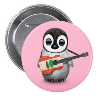 Baby Penguin Playing Lebanese Flag Guitar Pink 3 Inch Round Button