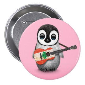 Baby Penguin Playing Lebanese Flag Guitar Pink Button
