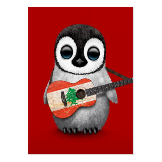 Baby Penguin Playing Lebanese Flag Guitar Red Large Business Card