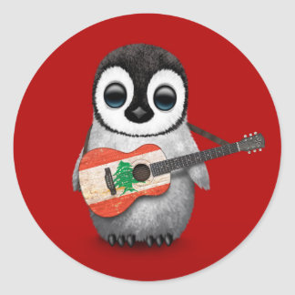 Baby Penguin Playing Lebanese Flag Guitar Red Classic Round Sticker