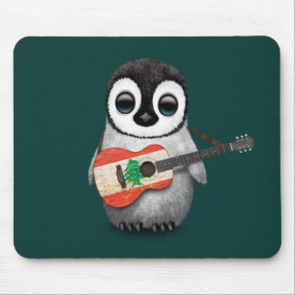 Baby Penguin Playing Lebanese Flag Guitar Teal Mouse Pad