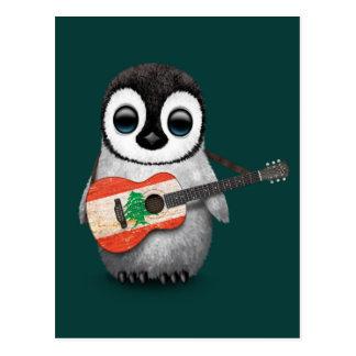Baby Penguin Playing Lebanese Flag Guitar Teal Postcard