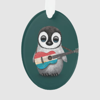 Baby Penguin Playing Luxembourg Flag Guitar Teal Ornament