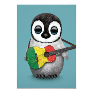 Baby Penguin Playing Mali Flag Guitar Blue Card